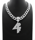 4PF Pendant Lil Baby Silver Chain 4PF Necklace Rapper Iced Out Cuban Link 18in.