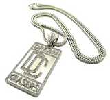 Silver Dream Chasers Pendant Cartoon Meek Mills Necklace Simulated Diamond Hip Hop Dream Chaser Chain Iced Out 24in.
