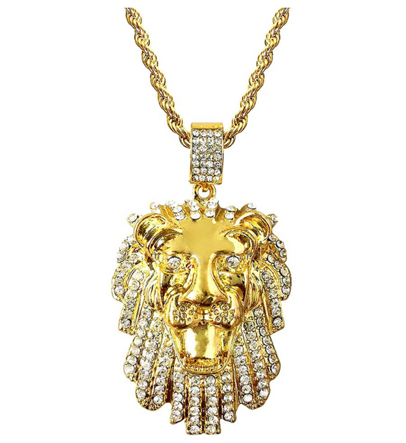 Lion King Pendant Lion Head Necklace Simulated Diamond Judah Lion Face African Chain Iced Out 24in.