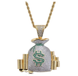 Cash Money Bag Pendant Rapper Money Necklace Cartoon Simulated Diamond Money Bag Chain Iced Out 24in.