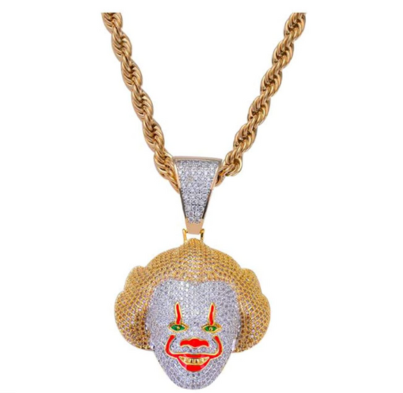 It Clown Pendant Rapper Pennywise Necklace Cartoon Simulated Diamond It Chain Iced Out 24in.