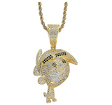 Timmy Turner Pendant Rapper The Fairly Oddparents Necklace Timmy Cartoon Gold Diamond Chain Silver Iced Out 24in.