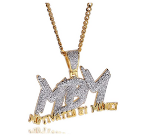 Motivated By Money Pendant Rapper Cash Money Necklace Gold Diamond MBM CEO Chain Iced Out 24in.
