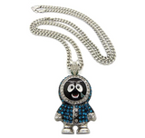 Blue Eskimo Pendant Rapper Gucci Man Necklace Cartoon Simulated Diamond 1017 Brick Squad Chain Iced Out Cuban Link 24in.