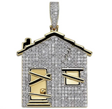 Trap House Pendant Rapper Trap House Necklace Cartoon Gold Color Metal Alloy Simulated Diamond Trap House Chain Iced Out 24in.