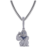Gorilla Pendant Rapper Ape Necklace BAPE Cartoon Gold Diamond Monkey Chain Iced Out Cuban Link 24in.