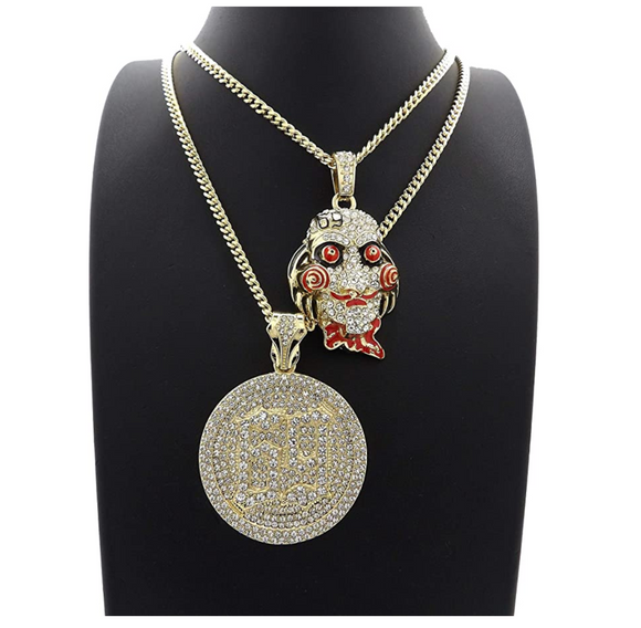 Jigsaw 69 Pendant Set Rapper 6ix9ine Necklace Jigsaw Cartoon Simulated Diamond SAW Chain Iced Out 24in.