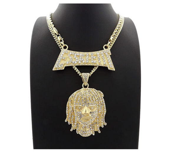 Lil Pump Esskeetit Pendant Set Rapper Esskeetit Necklace Lil Pump Cartoon Simulated Diamond Lil Pump Chain Iced Out 24in.