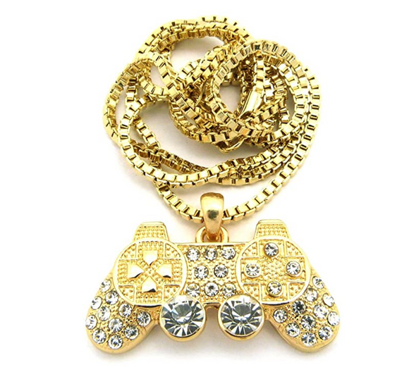 Playstation Pendant Rapper PS5 Necklace Cartoon PS4 Play Station Controller Chain Gamer Iced Out Gold Color Metal Alloy Simulated Diamond 24in.