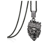 Black Lion Pendant Rapper Lion King Necklace Judah Cartoon African Gold Lion Face Diamond Crown Lion Head Chain Iced Out 24in.