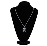 Panda Bear Pendant Rapper Black White Bear Necklace Cartoon Simulated Diamond Rose Bear Chain Iced Out 24in.