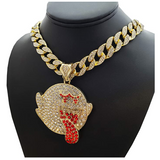 Mario Ghost Pendant Rapper Emoji Mario Ghost Necklace Cartoon Gold Diamond Ghost Chain Iced Out Cuban Link 18in.