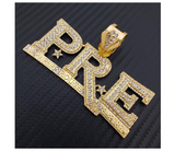 PRE Pendant Rapper Young Dolph Necklace Key Glock Cartoon Gold Diamond Young Dolph P.R.E Chain Iced Out Cuban Link 18in.