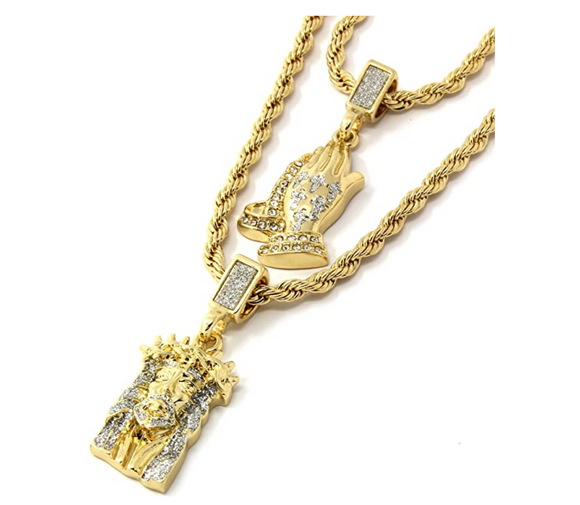 Jesus Face Pendant Pray Hands Rapper Jesus Piece Necklace Cartoon Gold Diamond Prayer Hands Iced Out 24in.