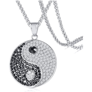 Taoism Pendant Rapper Yin Yang Necklace Simulated Diamond Yin Yang Chain Iced Out 24in.