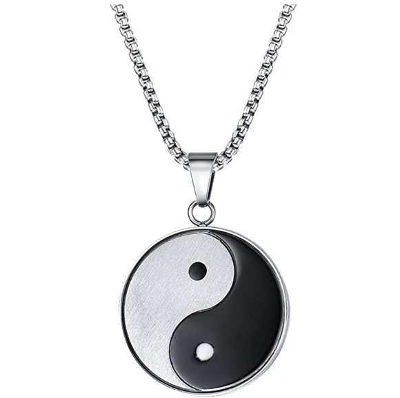 Yin Yang Pendant Taoism Necklace Yin Yang Stainless Steel Chain 24in.