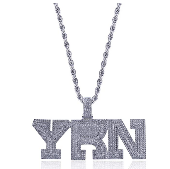 YRN Pendant Rapper Migos Necklace Simulated Diamond Migo YRN Chain Iced Out 24in.