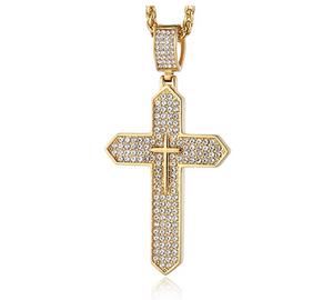 Cross Pendant Rapper Jesus Cross Necklace Cartoon Gold Color Metal Alloy Simulated Diamond Holy Cross Chain Iced Out 24in.