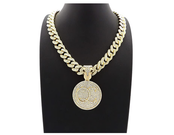 QC Pendant Rapper Migos Necklace Cartoon Gold Diamond Quality Control Iced Out Cuban Link 18in.