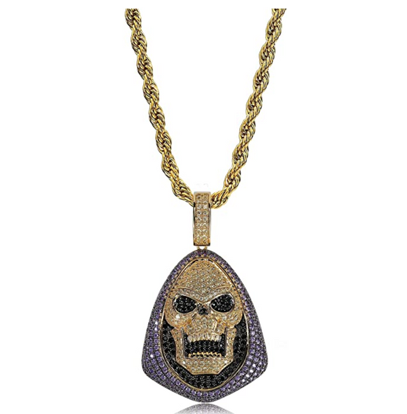 Skeleton Pendant Cartoon Necklace Skull Simulated Diamond Ghost Hip Hop Grim Reaper Chain Silver Iced Out Demon Chain 24in.