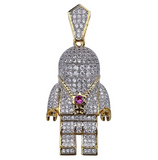 NASA Astronaut Pendant Cartoon Diamond Spaceship Rocketship Hip Hop Astronaut Necklace Space Iced Out Chain Silver Gold Color Metal Alloy 24in.