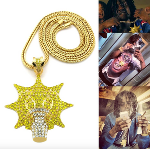Yellow Glory Boyz Cartoon Glo Gang Necklace Rapper Chief Keef Pendant Simulated Diamond Chief Keef Emoji Iced Out Gold Silver Metal Alloy 36in.