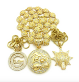 Gold Glo Gang Necklace Set Glory Boyz Cartoon Set Chief Keef Pendant Rapper Diamond Chief Keef Emoji Iced Out 30in.