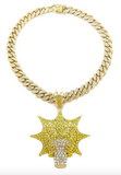 Diamond Chief Keef Emoji Chain Glory Boyz Cartoon Gold Glo Gang Necklace Chief Keef Pendant Rapper Iced Out Cuban Link 18in.