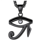 Eye of Ra Pendant Gold African Jewelry Egyptian Necklace Silver Eye of Ra Chain Horus Eye 24in.