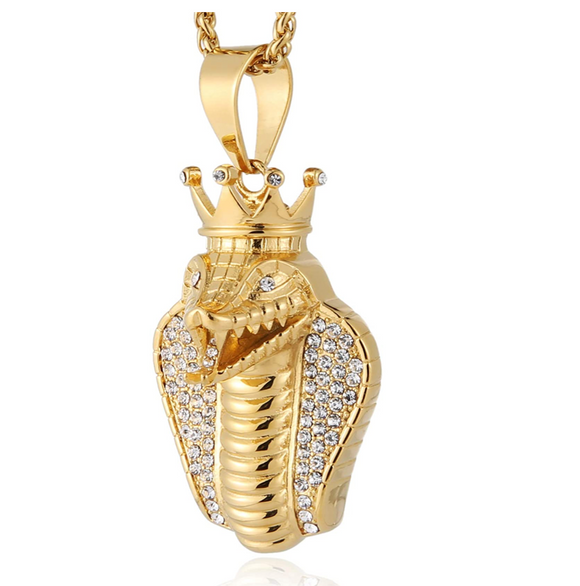 King Snake Pendant Snake Gold Color Metal Alloy African Jewelry Hip Hop Simulated Diamond Crown Snake Necklace Egypt Cobra King Chain 24in.