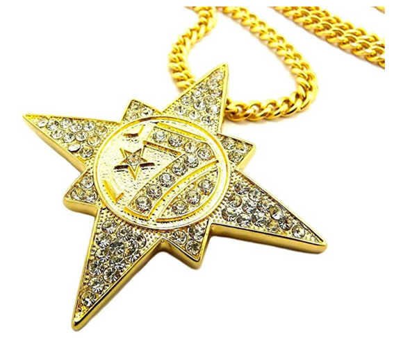 7 Star 5 Percenter Pendant Allah Jewelry Hip Hop Diamond Silver Necklace Muslim Jay Z Chain NOI Gold Color Metal Alloy 24in.