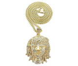 Lil Pump Pendant Gold Color Metal Alloy Hip Hop Jewelry Simulated Diamond Silver Lil Pump Necklace Esskeetit Chain Iced Out 24in.
