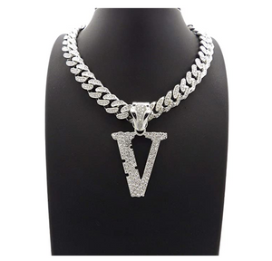 VLONE Simulated Diamond Necklace V Letter Pendant Gold Color Metal Alloy  Hip Hop Iced Out Cuban Link Chain 18in.