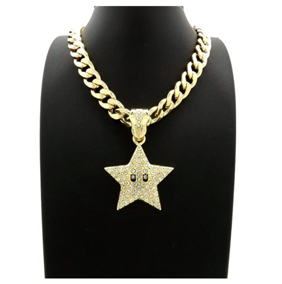 Mario Star Necklace Simulated Diamond Star Pendant Gold Tone Hip Hop Iced Out Emoji Star Chain Cuban Link 18in.