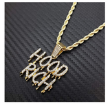 Hood Rich Necklace Simulated Diamond Trap Pendant Gold Tone Hip Hop Iced Out Drip Cash Money Bag Chain 24in.