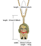 The Joker Necklace Simulated Diamond Joker Pendant Gold Hip Hop Iced Out Batman Chain 24in.