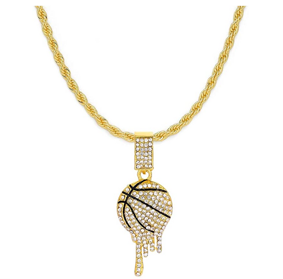 Basketball Necklace Basketball Drip Pendant Hip Hop Iced Out Basketball Chain Gold Color Metal Alloy Simulated Diamond 24in.