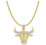 Chicago Bulls Necklace Simulated Diamond Bulls Pendant Gold Tone Michael Jordan 23 Hip Hop Iced Out Bull Basketball Chain 24in.
