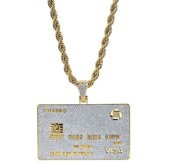 Credit Card Necklace Debit Card Pendant Hip Hop Iced Out Cash Money Bag Chain Simulated Diamond Gold Color Metal Alloy 24in.