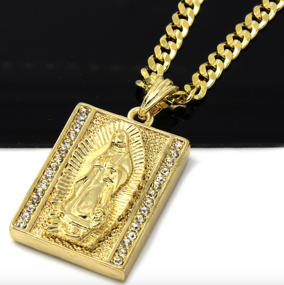The Virgin Mary Pendant Gold Jesus Cross Chain Mary Necklace Rapper Iced Out 24in.