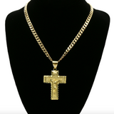 The Virgin Mary Pendant Jesus Cross Chain Mary Necklace Rapper Iced Out Gold Metal Alloy 24in.