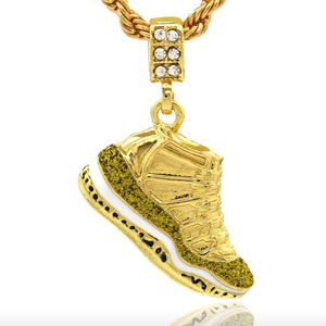 Jordan 11 Shoe Pendant 23 Chain Shoe Necklace Simulated Diamond Hip Hop Rapper Iced Out Gold Silver Metal Alloy 24in.