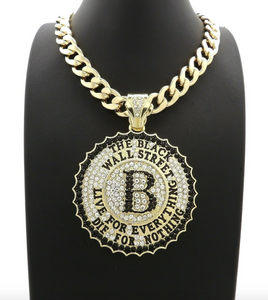 Black Wall Street Necklace The Game Pendant Black Wall Street Chain Simulated Diamond Hip Hop Iced Out Cuban Link 20in.