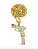 40 Pistol Necklace Extended Clip Pendant Gun Chain 9mm Simulated Diamond Hip Hop Iced Out Cuban Link 24in.