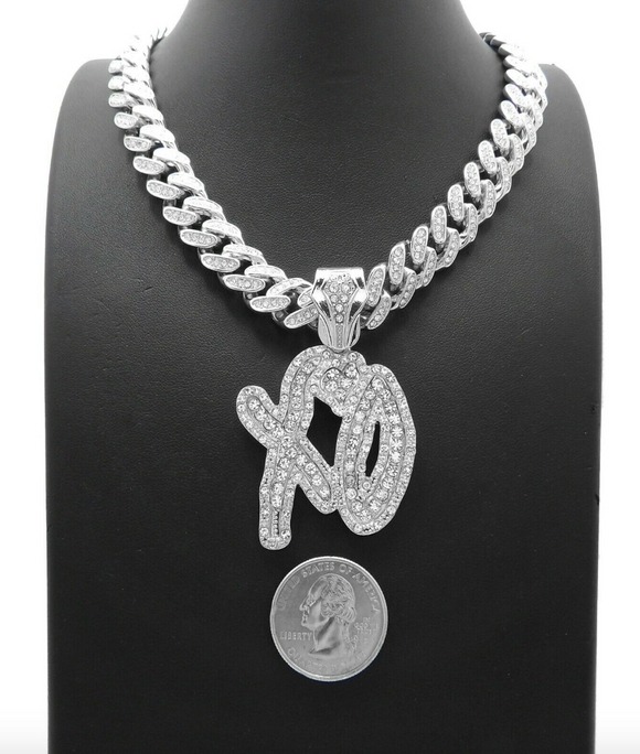 The Weeknd Necklace XO Pendant Chain XO Diamond Hip Hop Rapper Iced Out Cuban Link 20in.