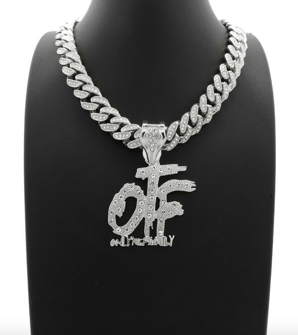 Lil Durk Necklace OTF Pendant Chain OTF Only The Family Hip Hop Rapper Simulated Diamond King Von O Block Iced Out Cuban Link 18in.