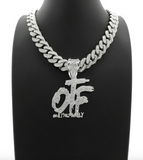 Lil Durk Necklace OTF Pendant Chain OTF Only The Family Hip Hop Rapper Simulated Diamond Iced Out Cuban Link 18in.