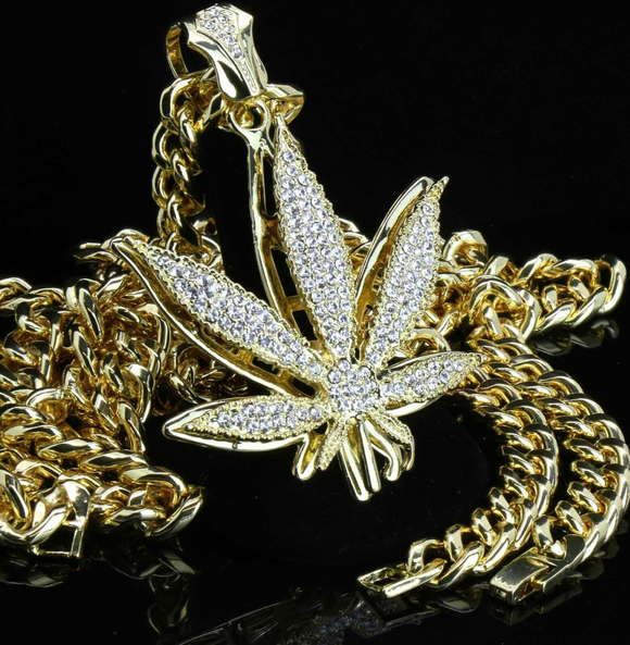 Weed Leaf Necklace 420 Pendant Chain Weed Simulated Diamond Hip Hop Rapper Iced Out Cuban Link 30in.