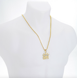 King Crown Necklace King Pendant Drip Chain Hip Hop Iced Out Simulated Diamond Gold Color Metal Alloy 24in.