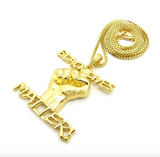 Black Lives Matter Necklace BLM Pendant Gold Tone Chain Hip Hop Black Proud Fist 24in.